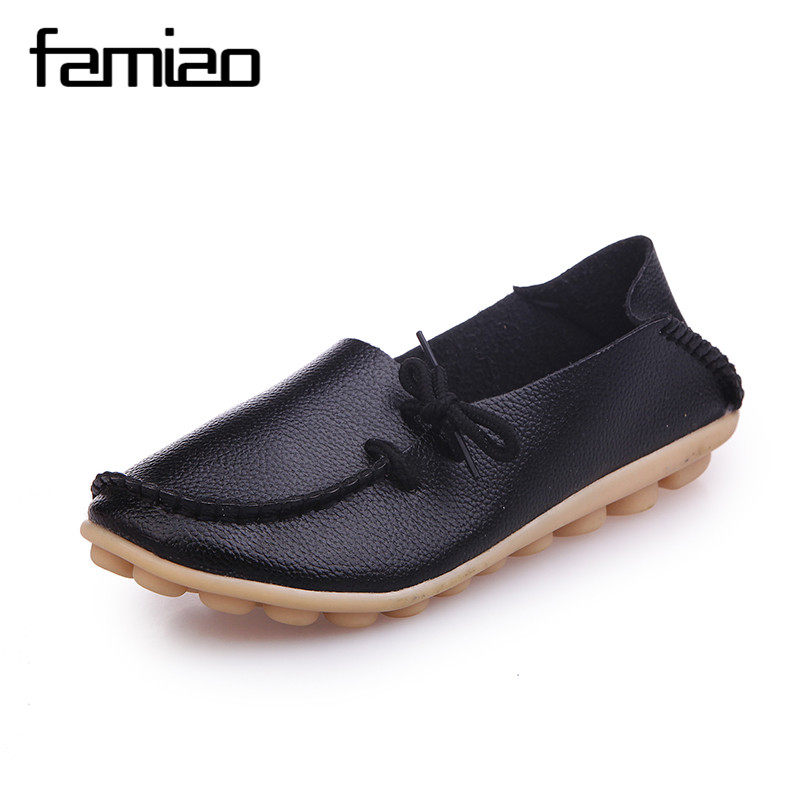 Big size women shoes leather Loafers mother casual fashion slip-on girls shoes breathable comfortable woman Dress Solid flats lin king fashion pu leather women flats shoes round toe loafers comfortable slip on casual shoes solid breathable girl lazy shoe