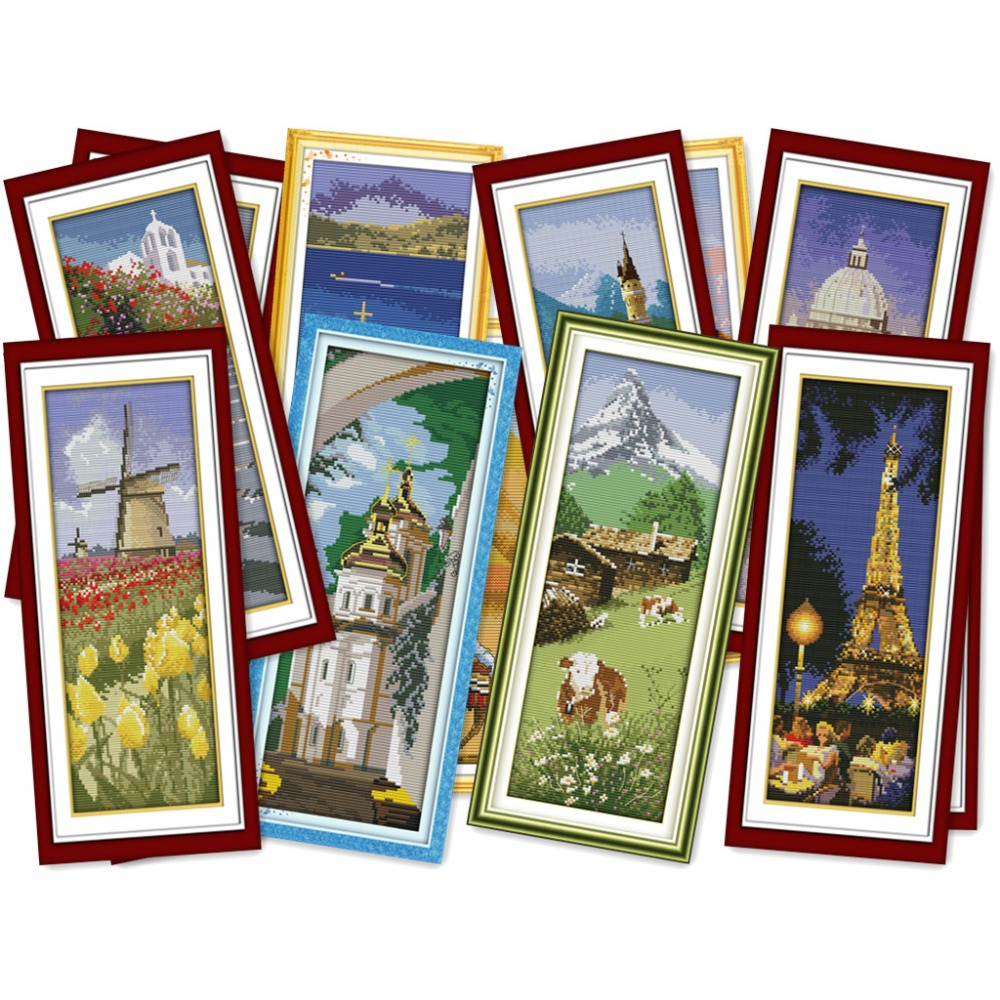 Everlasting love Places around the world Chinese cross stitch kits Ecological cotton printed 11CT DIY Christmas decorations gift