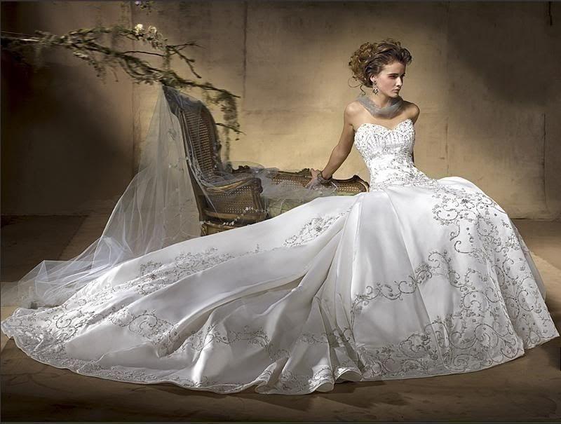 Popular silver wedding gowns buy cheap silver wedding for Silver beaded wedding dress
