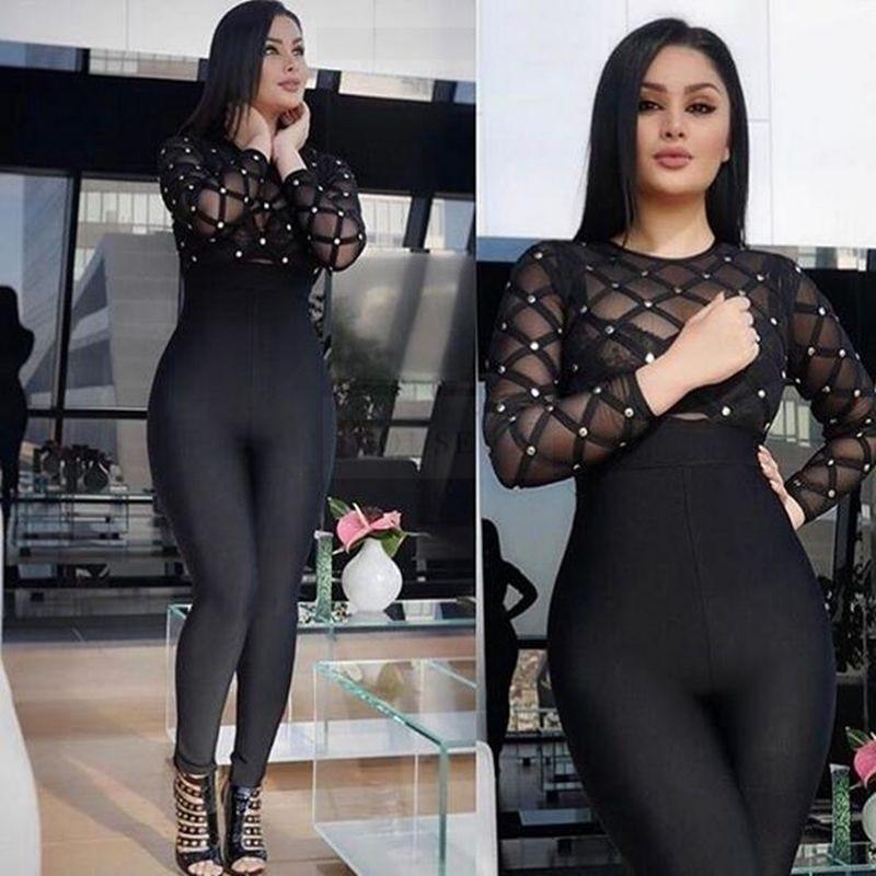 long sleeve plaid black women Jumpsuit mesh transparent babatique Bodycon Bandage Jumpsuits rompers patchwork bodysuit vestidos