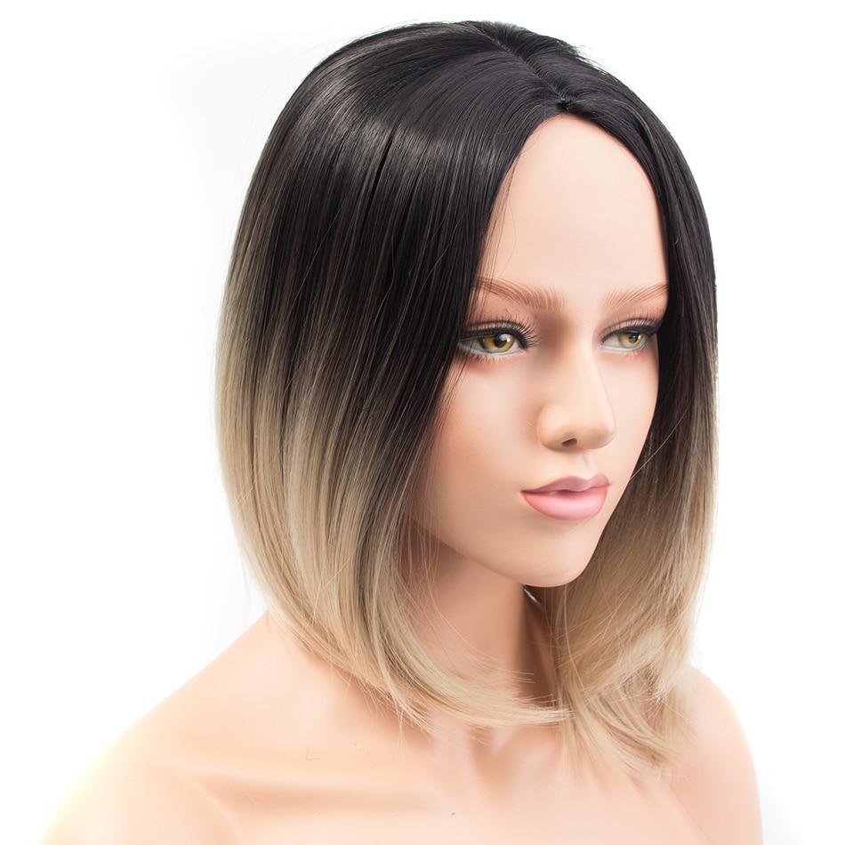 Pervado Haar Synthetische Kurze Ombre Schwarz Blonde Farbe Bob