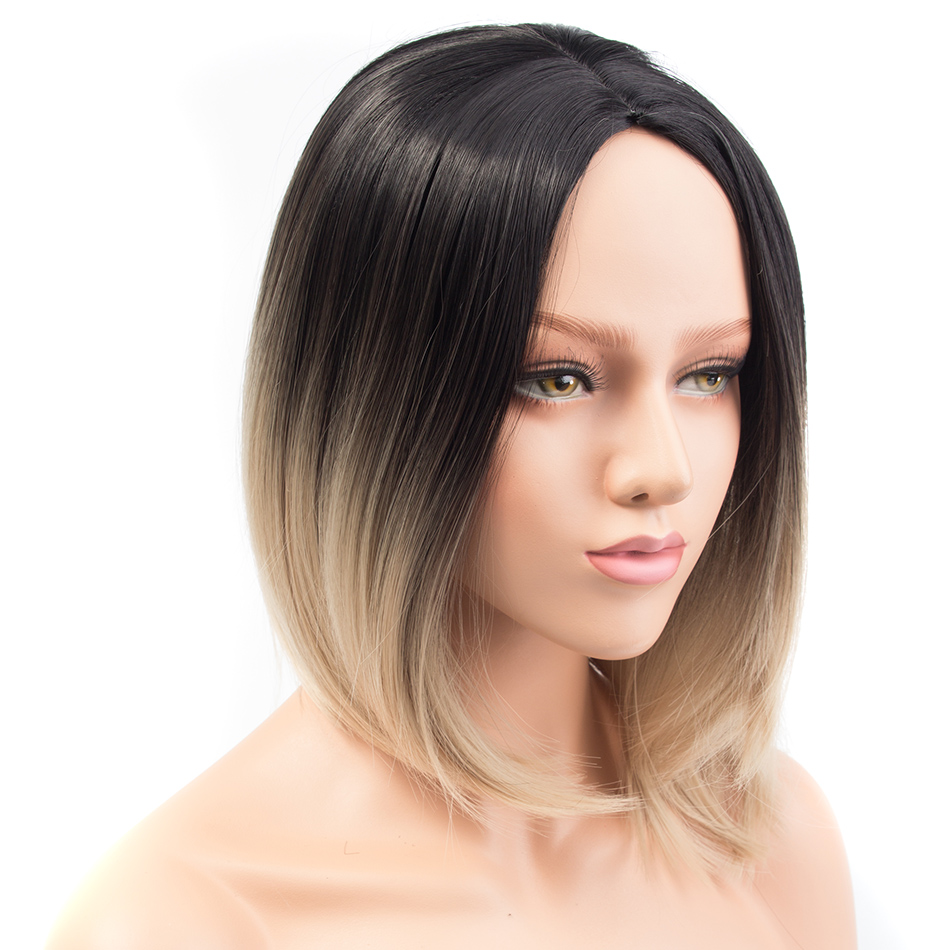 Pervado Hair Synthetic Short Ombre Black Blonde Color Bob Wig For Women 12inch Straight High Temperature Fiber Middle Part Pelo