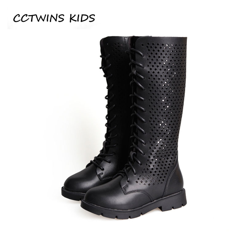 цена CCTWINS KIDS 2018 Autumn Children Fashion Keen High Boot Baby Pu Leather Boot Girl Brand Black Princess Shoe Toddler H007