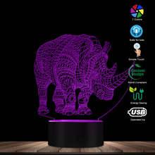 Rhinocero 3D Multicolor LED Animal Design Optical Illusion Lamp Colorful Discoloration Novelty Decorative LED Visual Night Light