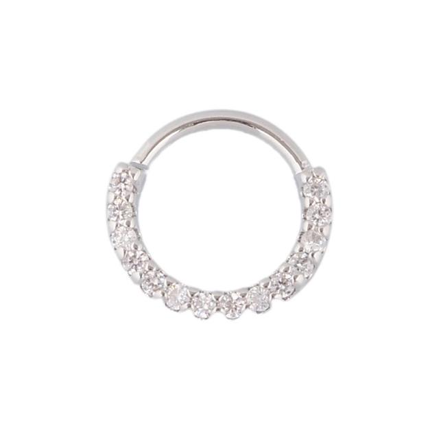 1PC Silver And Gold Color Indian Septum Piercing Nose Ring CZ Hoop Daith Earring Tribal Septum Jewelry 2018 New Arrival