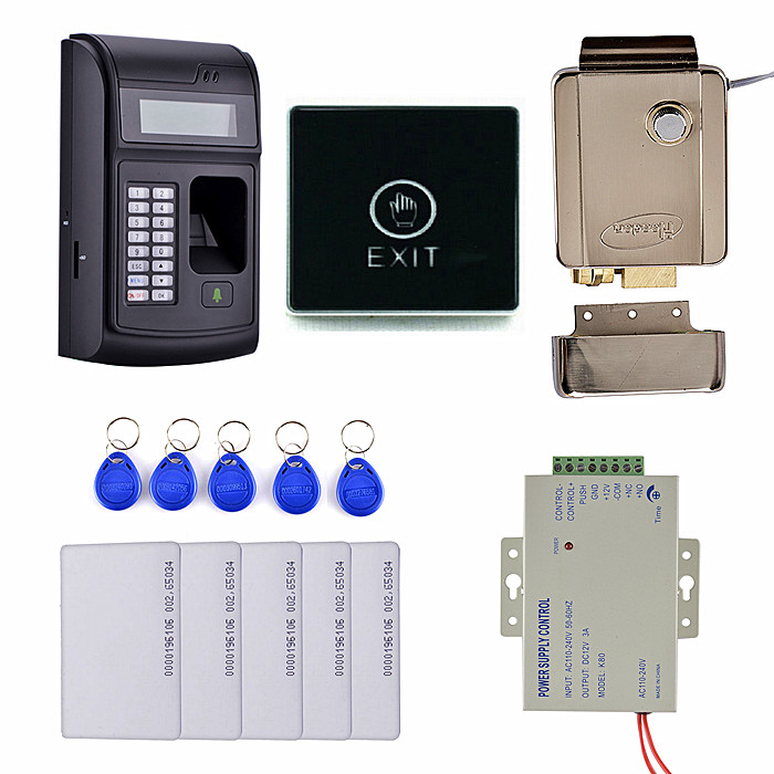 Key Card + Touch Door Switch + LCD Biometric PIN Code 125KHz RFID ID Card Reader Door Lock Fingerprint Access Control System fs28 biometric fingerprint access control machine electric reader scanner sensor code system for door lock