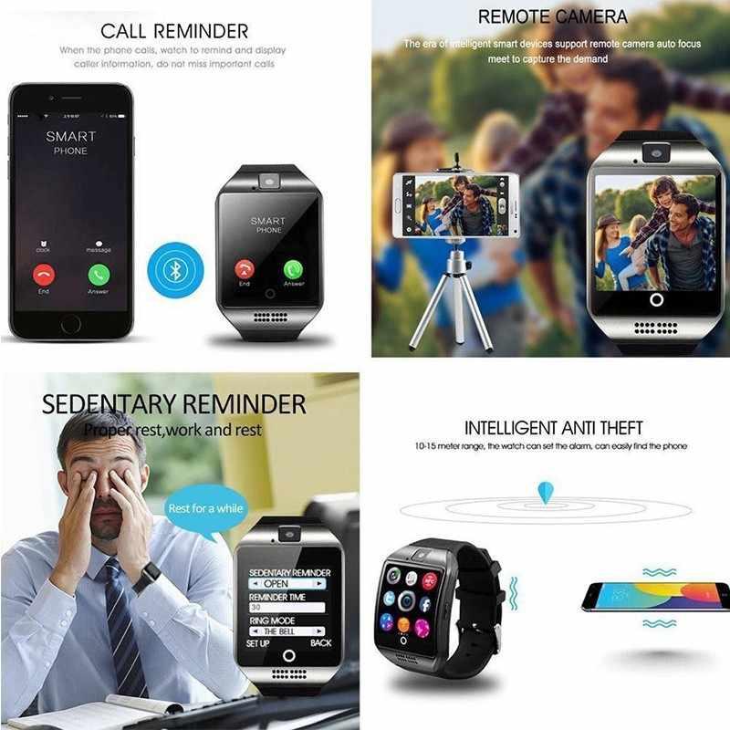 ブルートゥーススマートウォッチ Q18 カメラ Facebook Whatsapp と Twitter の同期 SMS スマートウォッチサポート SIM TF カード Ios アンドロイド Huawei 社