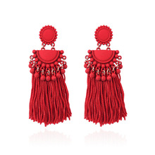 Ethnic Pink/Red/Black Color Tassel Earrings For Women Vintage Handmade Beads Fringing Jewelry Long Drop 2019 New