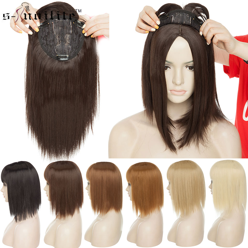 SNOILITE 11inch Synthetic Hair Clip In Toupee Hairpieces Straight Topper Hair With Bangs For Women Man 8 Color