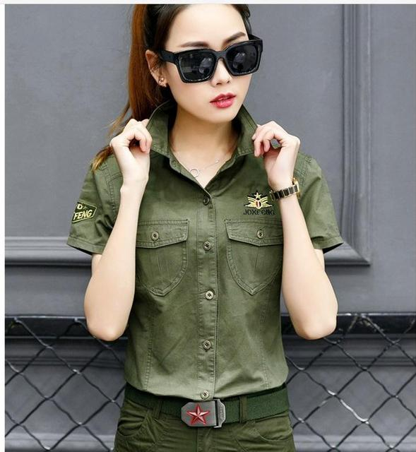 1e1b0814595 Summer Women Tooling Shirts Short Sleeves Single Breasted Plus Size Army  Green Shirts Clothes Female Camouflage Shirt J1948