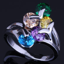 Preziosa Rotonda Multigem Multicolor Giallo Cubic Zirconia 925 Sterling Silver Ring Per Le Donne V0414(China)