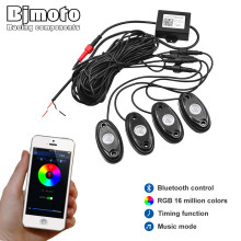 Bjmoto Motorcycle 4PODS RGB LED Bluetooth Rock Lights Off Road Truck SUV Car LED Rock Light Music Phone Control Multicolor Light 8pods 9w rgb led led rock light with bluetooth control car light atmosphere lamp kit for jeep for suv trucks excavator ship