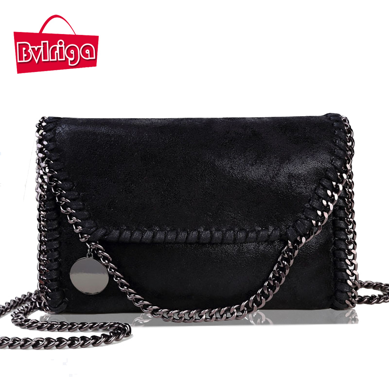 BVLRIGA Small chain Leather messenger Crossbody font b Bag b font Female Shoulder font b Bag