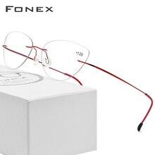 FONEX Không Gọng Kính Đọc Sách Khung Titan Nữ Siêu Nhẹ Mắt Mèo Presbyopic Hyperopia Đầu Đọc Lọc Nhớt Giấy Fram Extra + 1.0 + 1.5 + 2.0 + 2.5