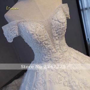Image 4 - Loverxu Gorgeous Appliques Lace Chapel Train A Line Wedding Dress 2020 Luxury Beaded Boat Neck Sexy Bridal Gown Vestido de Noiva