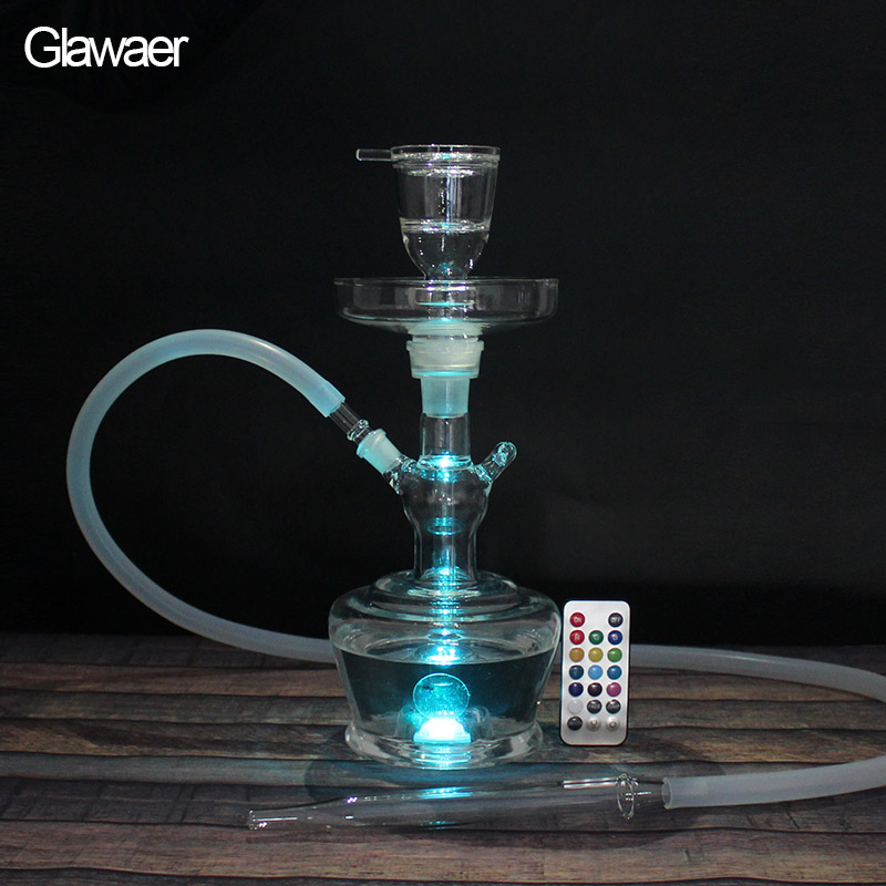 Shisha New Glass hookahs chicha dengan LED Light white pipe dan Nargile Hottest Smoking Hookah Pipe