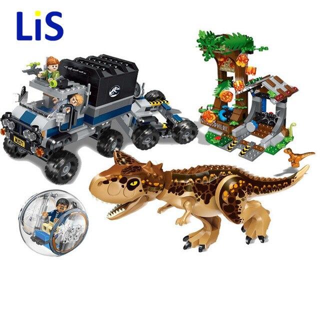596 pcs Mundo Parque Jurássico Dinossauro Carnotaurus Gyrosphere Fuga Modelo Blocos de Construção Tijolos Crianças Brinquedos Dom Compatível