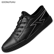 купить 2019 new fashion men's shoes casual genuine leather loafers male breathable black white flat shoes for men size  38-45 shoe man по цене 3647.35 рублей