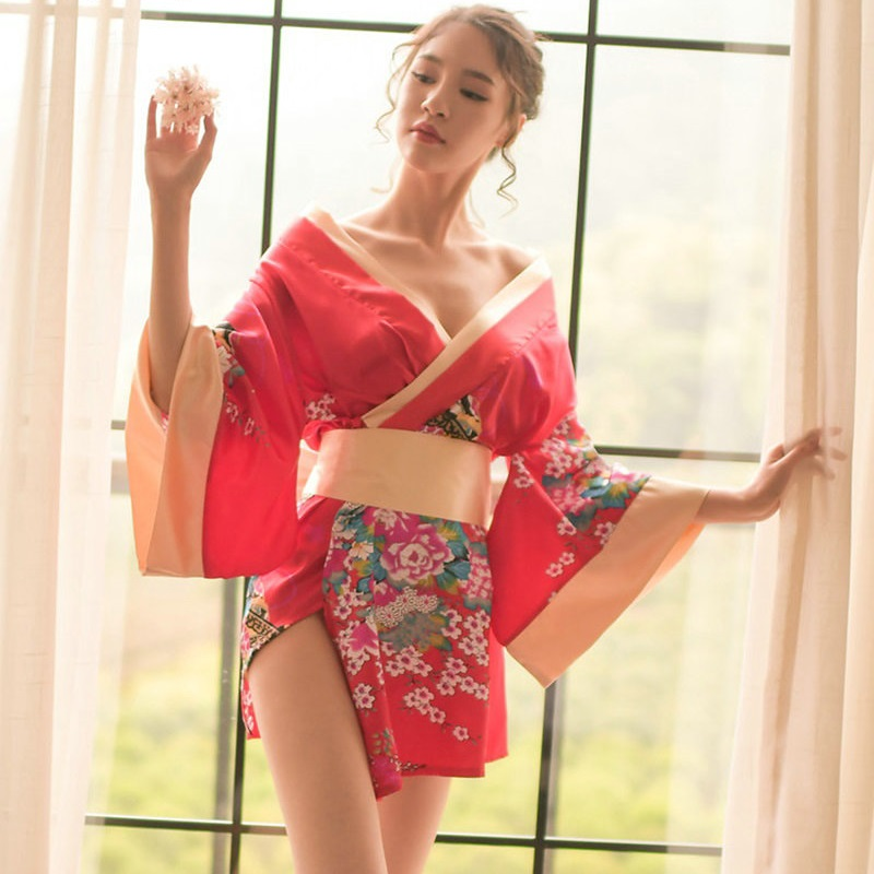 Women Japanese Kimono Floral Kimono Robe Sexy Nightgown Sleepwear Yukata Elegant Casual Spa Japan Sexy cosplay Costumes V948 Платье