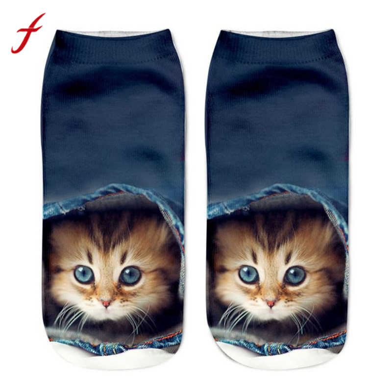 feitong 2018 New Fashion Harajuku Socks Casual Popular Funny Unisex Short Socks 3D Cat Printed Anklet Socks