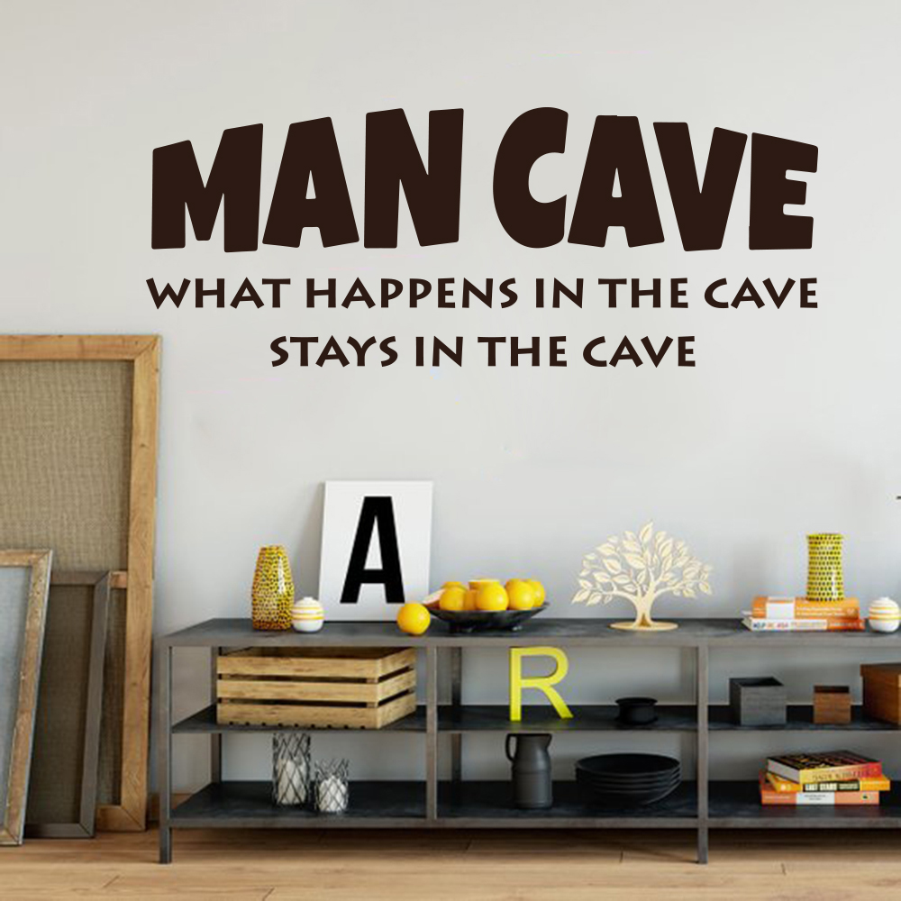 Man Cave Wall Sticker Boy Room Kids Room What happens in the cave stays in the cave Inspirational Quote Wall Decal Bedroom Vinyl