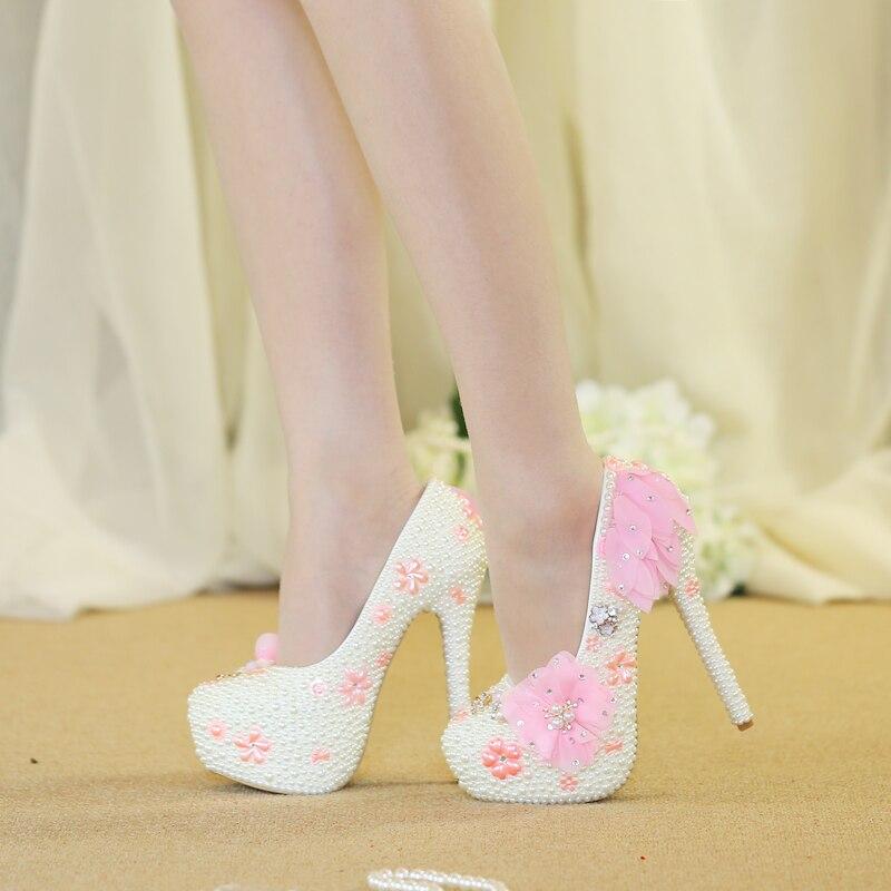 Haute En Chaussures Dentelle Cristal Rose La Pour Mariage De Perles Mariée wawB7F4q