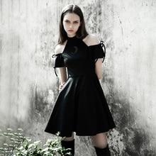 2019 nouveauté femmes robe mode gothique Punk Style Sexy Club coeur lune évider épaule Slash cou robes noires