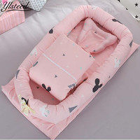 80 90cm Baby Cotton Portable Bed Blanket Pillow Set Newborn Baby Travel Bed Safe Removable And