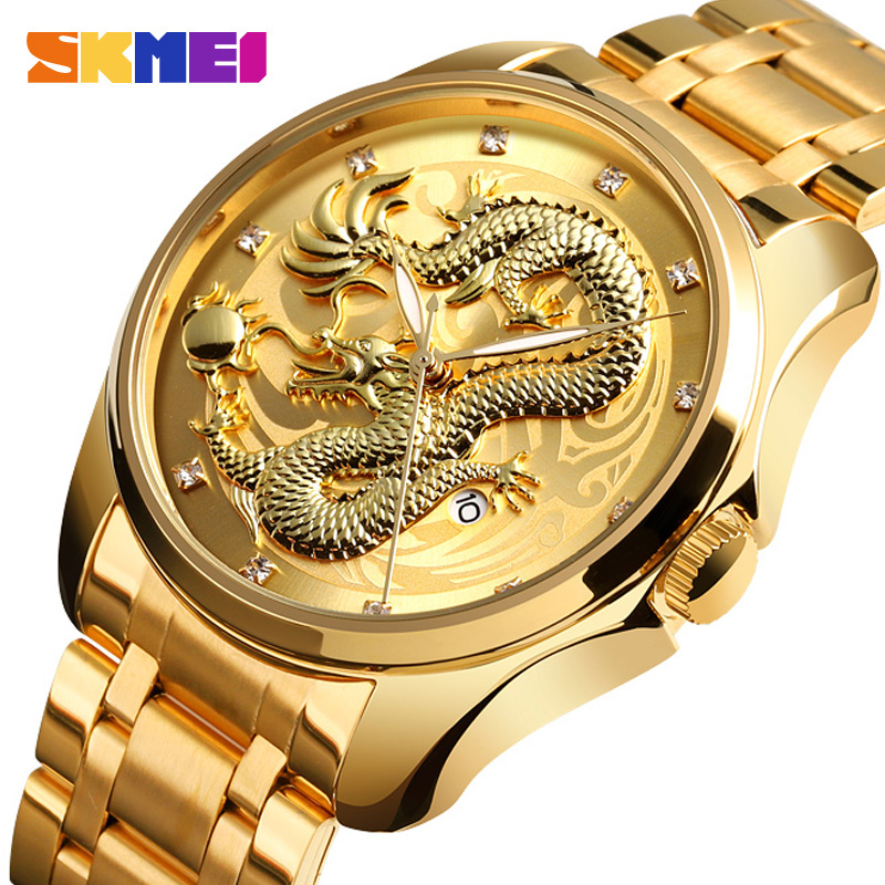 2019 SKMEI Luxury Chinese Dragon Pattern Men Golden Quartz Watch Male Watches Waterproof Wristwatches Relogio Masculino 9193