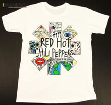 RHCP Red hot Chili Peppers Anthony Kiedis DIY mens short sleeve T-shirt cotton Round collar 003 gray white S-XXXL