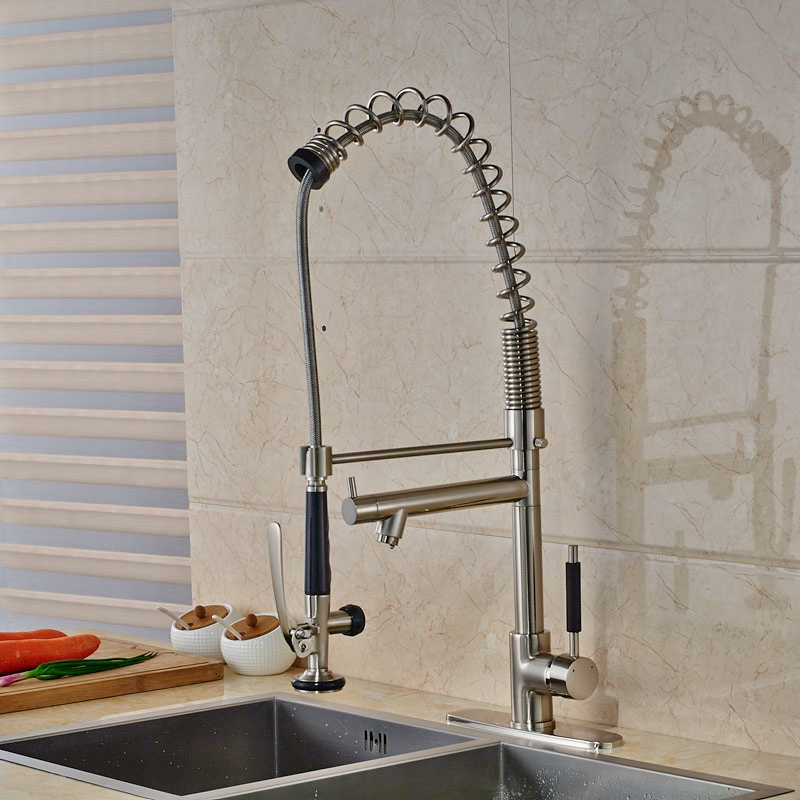Brushed Nickle Pull Down Sprayer Kitchen Faucet Single Lever One