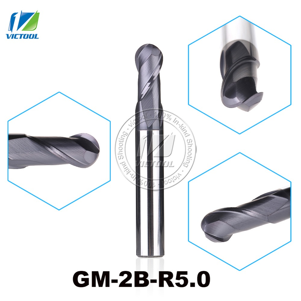 GM-2B-R5.0 Cemented Carbide High Speed Machining Applicable 2-Flute Ball Nose End Mills Straight Shank Cutting Tools