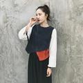 [XITAO] primavera 2017 new arrival moda Coréia mulheres irregular fina corduroy manga comprida blusa costura fêmea O-pescoço top GG002