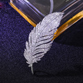 Fashion Jewelry For Women Zirconia Feather Crystal  Clothing Brooch Accessories 2016 Hot Bset Selling Freeshipping