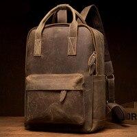 Men's Or Women Genuine Leather Backpack Multifunction Handmade Daypack Vintage Schoolbag Backpack Shoulder Bag Casual Rucksack