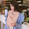 Autumn and winter small solid color all-match scarf beading knitted yarn slanting thermal stripe scarf cape