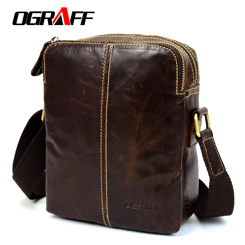 OGRAFF Men Shoulder Bags Genuine Leather Bags Male Small Shoulder Handbags 2017 Luxury Designer Men Messenger Bag Cross Body Bag ograff bag men genuine leather men messenger bags handbags famous brand designer briefcases leather crossbody bags men handbag