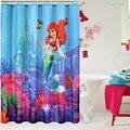 Banheiro durável impermeável cortina de chuveiro disney pequena sereia ariel & sebastian decoração para casa 180cm x 180cm