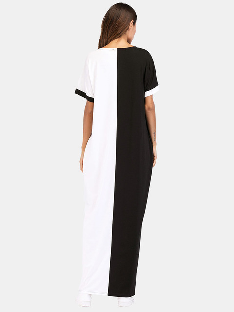 #187055 Musulman Fashion Hot Sell Mideast Muslim Women's Wear Euramerica Long Contrast Color Coloring and Splicing Dresses 1