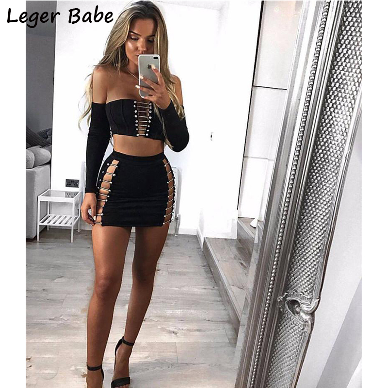 Leger Babe Fashion Sexy Women Outfit Metal Studded Cutout Button Off Shoulder Long Sleeve Mini Black