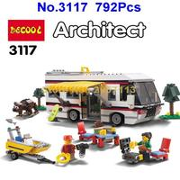 Decool 3117 792pcs Vacation Getaways Camper Summer Home Architect 3 In 1 Building Block Compatible 31052