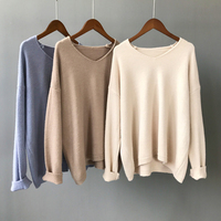 Plus Size Autumn Women Loose Casual Sweaters 2018 Solid V Neck Knitted Pullovers Thick Oversize Basic Home Sweater 7 Colors