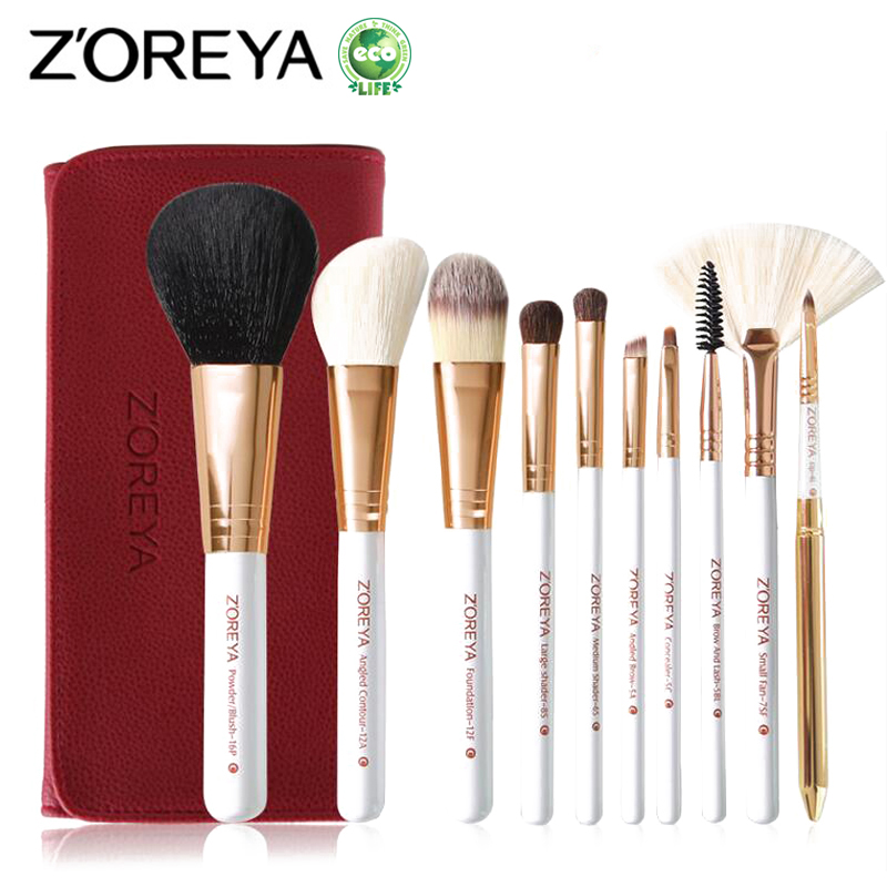 ZOREYA 10pcs Makeup Brushes Set Professional Make Up Brush Set Powder Eyeshadow Eyeliner Lip Cosmetic Tool Kits Pincel Maquiagem new pro 22pcs cosmetic makeup brushes set bulsh powder foundation eyeshadow eyeliner lip make up brush high quality maquiagem