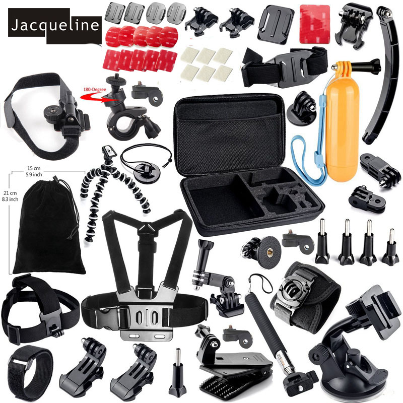 Jacqueline for Accessories Kit Mount for gopro go pro hero 5 4 3 2 1 Black Edition SJCAM/Xiaomi yi chest tripod Accessories Kit gopro accessories head belt strap mount adjustable elastic for gopro hero 4 3 2 1 sjcam xiaomi yi camera vp202 free shipping