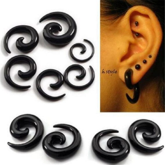 12pcs Black Acrylic Spiral Stud Earrings Gauges Large Size Tapers Piercing Boy Jewelry Flesh Twirl Snail