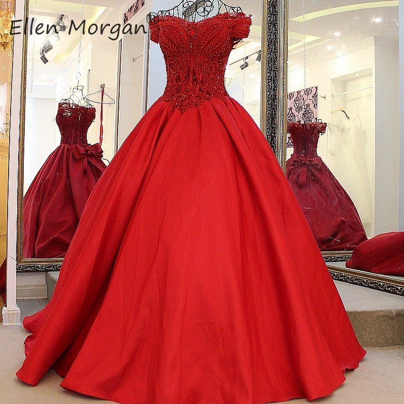 Red Satin Ball Gowns Wedding Dresses Lace up Customized Off Shoulder Lace Beaded Real Photos Court