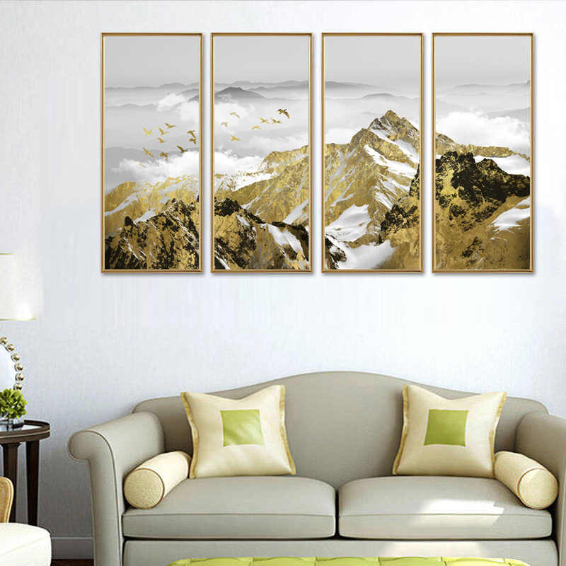 4 Pieces/set Modern Posters Wall Art Home Decor Modern  Natural Landscape HD Print Painting Modular Pictures Canvas (No Framed)