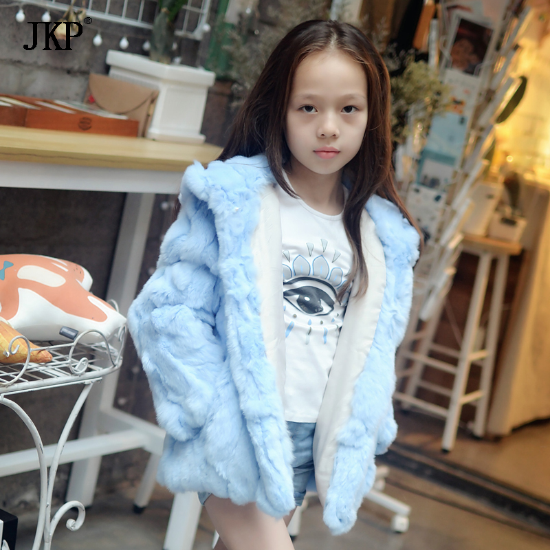 Winter Children Real Blue Rex Rabbit Fur Coat Kids fur jacket Warm baby Girls Outerwear