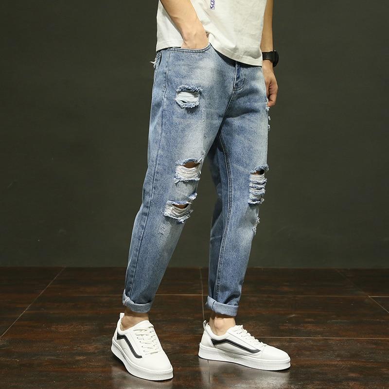 2018 High quality summer mens jeans hole hip hop fashion Korean style pencil pants male denim trousers cotton loose pants