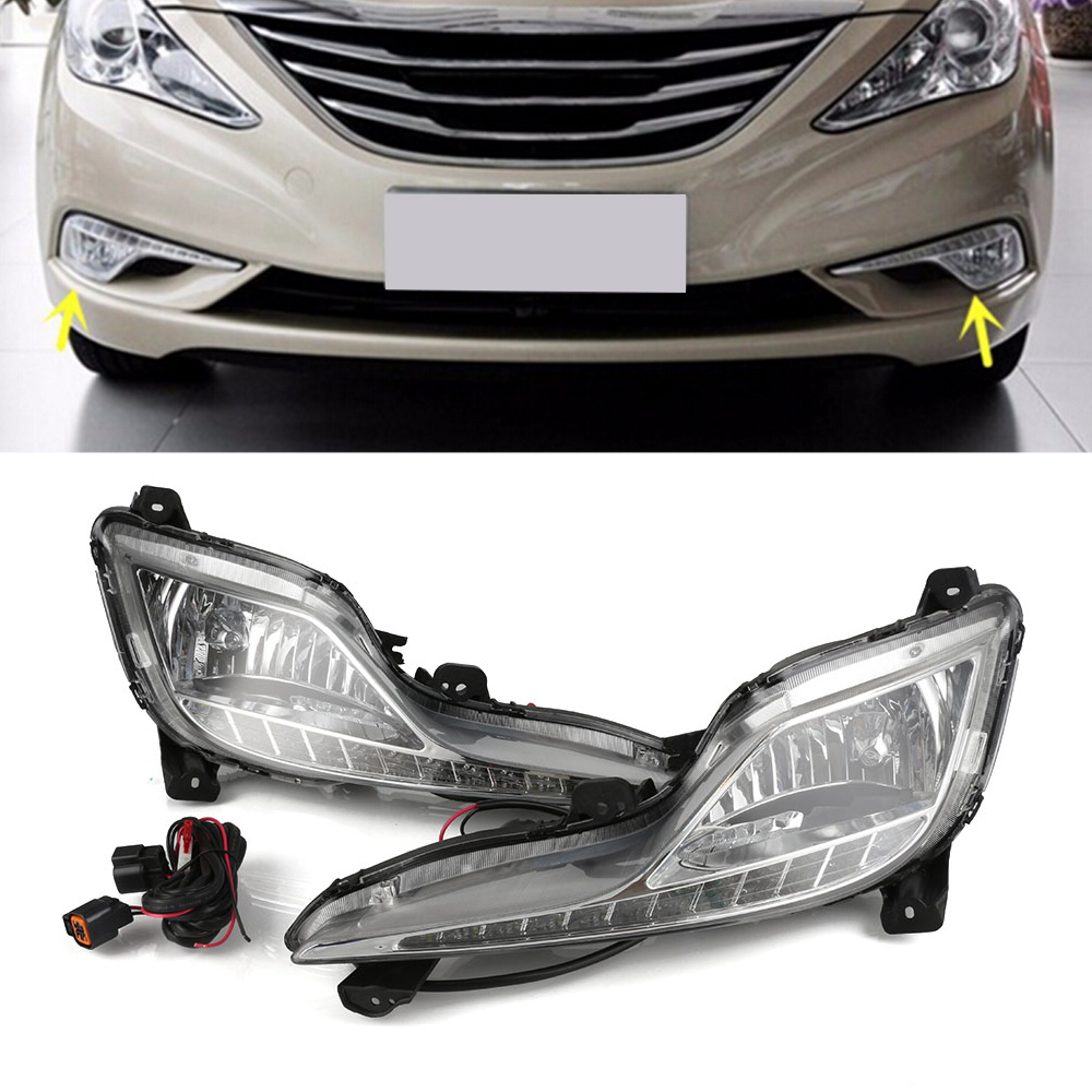 High Quality Car LED DRL Daylights Auto Daytime Driving Running Light White For Hyundai Sonata 8 2013-2014 D35 auto car led white drl driving daytime running light fog lamp daylights for hyundai ix35 2014 2017 2pcs free shipping d35